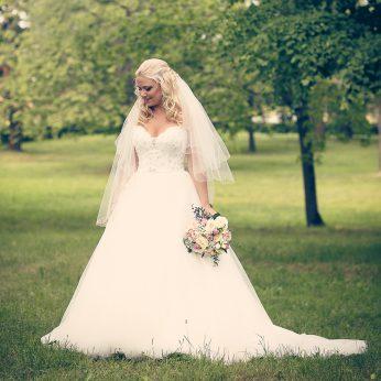 tyllklänning, brudslöja, bröllopsfotografering brohofs slott